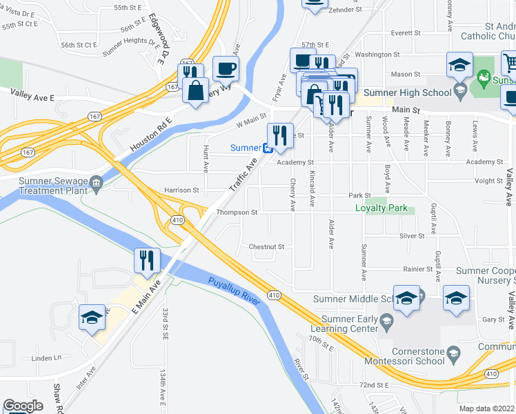 map of restaurants, bars, coffee shops, grocery stores, and more near 715 Thompson Street in Sumner