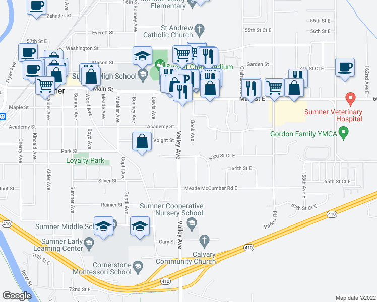 map of restaurants, bars, coffee shops, grocery stores, and more near 615 Valley Avenue in Sumner
