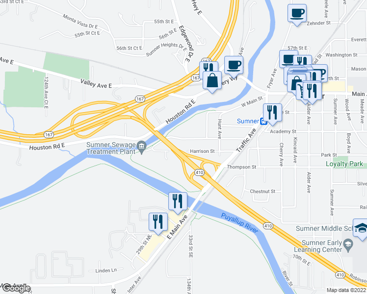 map of restaurants, bars, coffee shops, grocery stores, and more near 408 State Street in Sumner