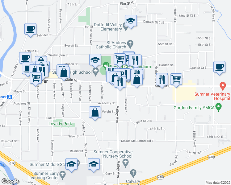 map of restaurants, bars, coffee shops, grocery stores, and more near 828 Valley Avenue East in Sumner