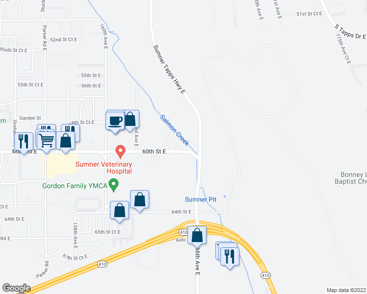 map of restaurants, bars, coffee shops, grocery stores, and more near 16503 60th Street East in Sumner