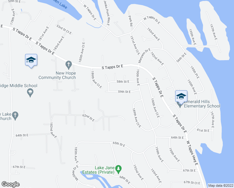 map of restaurants, bars, coffee shops, grocery stores, and more near 18802 59th Street East in Lake Tapps