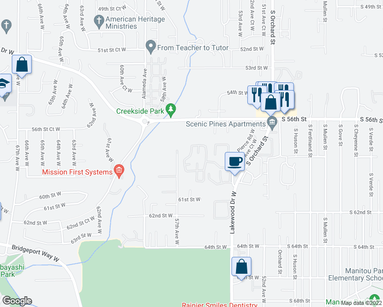 map of restaurants, bars, coffee shops, grocery stores, and more near 5713 57th Avenue West in Tacoma