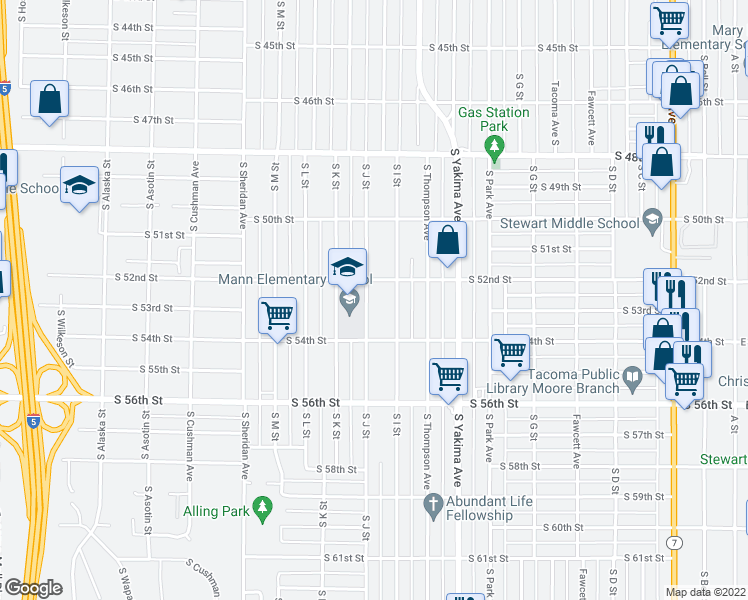 map of restaurants, bars, coffee shops, grocery stores, and more near 5215 South J Street in Tacoma