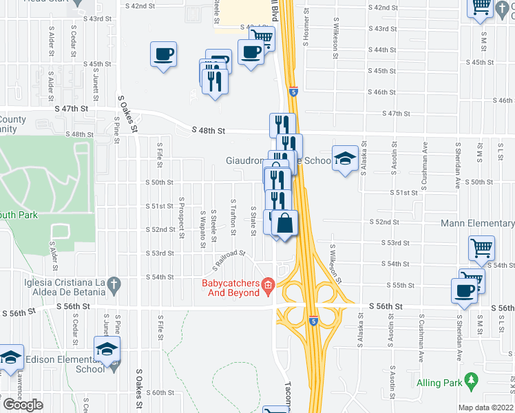map of restaurants, bars, coffee shops, grocery stores, and more near 5027 South State Street in Tacoma