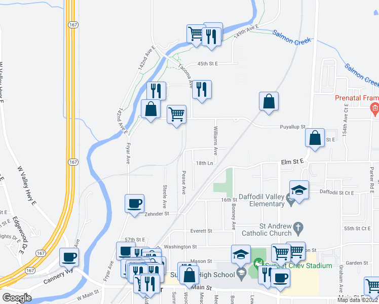 map of restaurants, bars, coffee shops, grocery stores, and more near 1408 Hubbard Street in Sumner