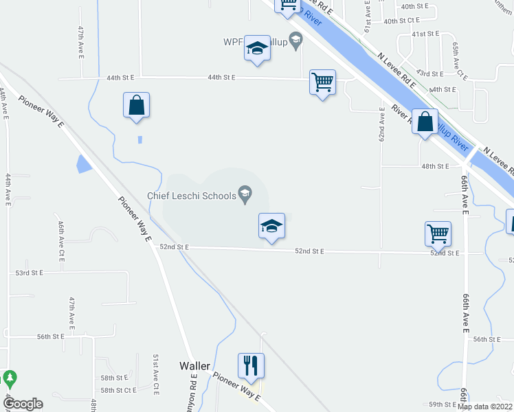 map of restaurants, bars, coffee shops, grocery stores, and more near 5625 52nd Street East in Puyallup