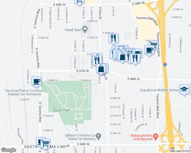 map of restaurants, bars, coffee shops, grocery stores, and more near 4720 South Pine Street in Tacoma