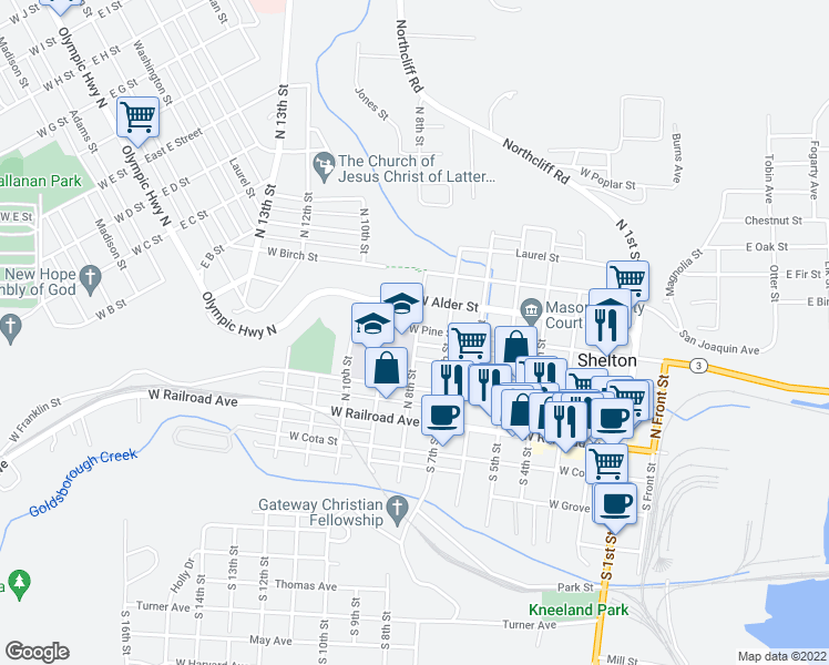 map of restaurants, bars, coffee shops, grocery stores, and more near 220 North 8th Street in Shelton