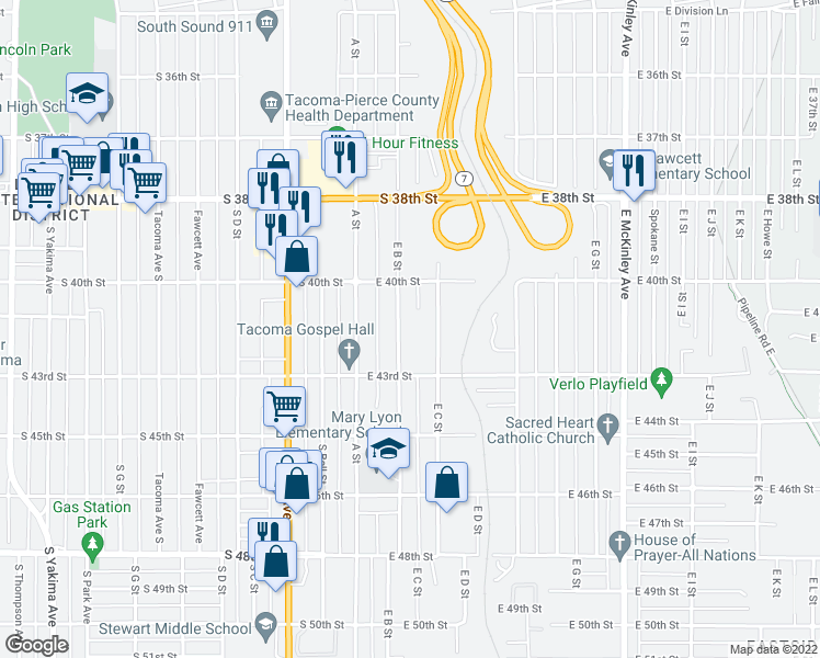 map of restaurants, bars, coffee shops, grocery stores, and more near 4031 East B Street in Tacoma