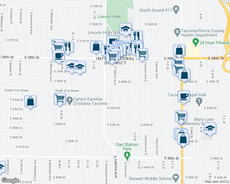 map of restaurants, bars, coffee shops, grocery stores, and more near 4106 South Yakima Avenue in Tacoma