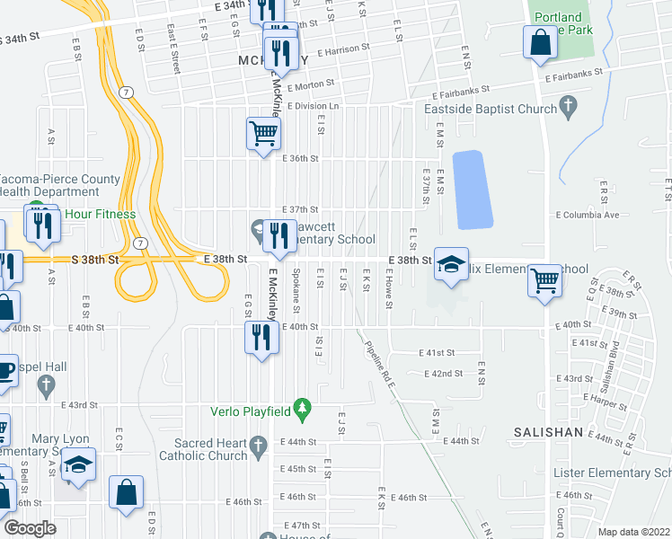 map of restaurants, bars, coffee shops, grocery stores, and more near 3806 East J Street in Tacoma