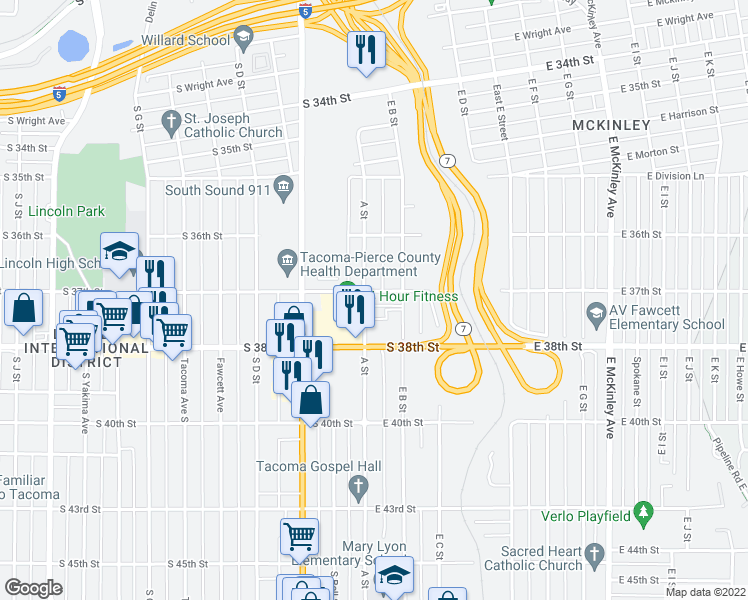 map of restaurants, bars, coffee shops, grocery stores, and more near 3701 A Street in Tacoma