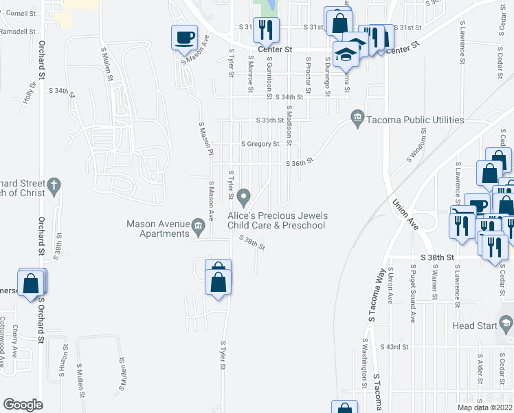 map of restaurants, bars, coffee shops, grocery stores, and more near 3703 South Manitou Way in Tacoma