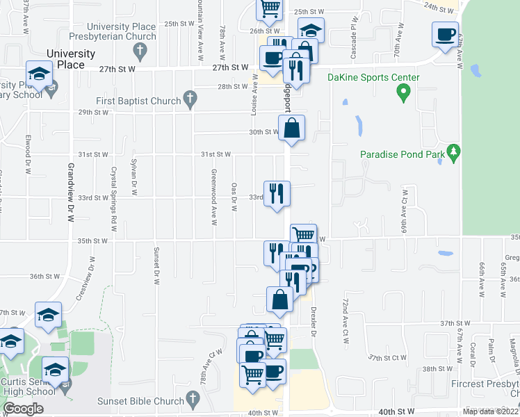 map of restaurants, bars, coffee shops, grocery stores, and more near 3318 Bridgeport Way West in University Place