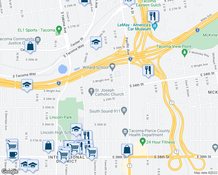 map of restaurants, bars, coffee shops, grocery stores, and more near 409 South 34th Street in Tacoma