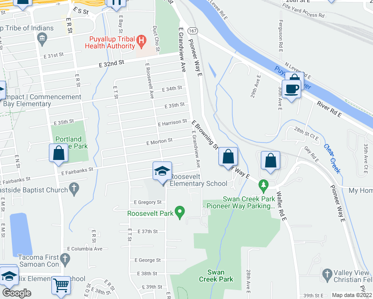 map of restaurants, bars, coffee shops, grocery stores, and more near 2245 East Fairbanks Street in Tacoma