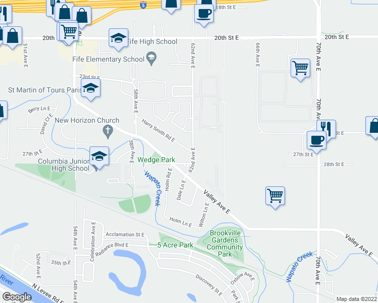 map of restaurants, bars, coffee shops, grocery stores, and more near 6103 28th Street East in Fife
