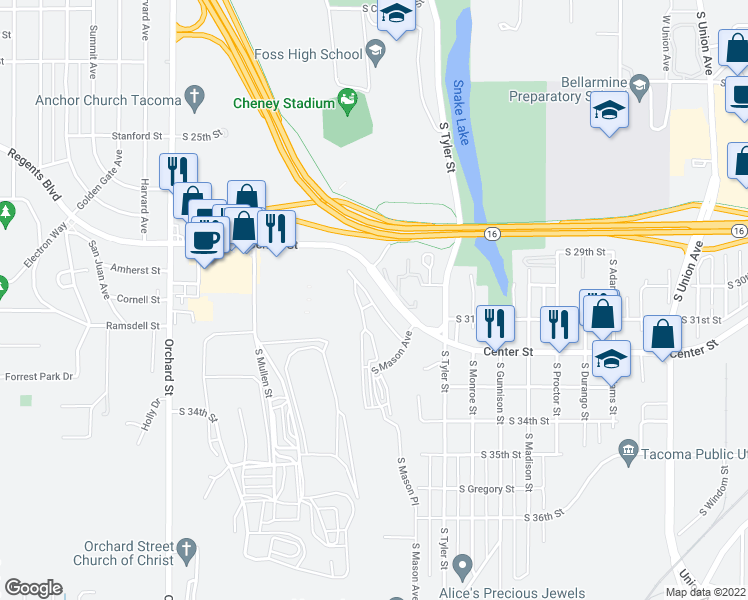 map of restaurants, bars, coffee shops, grocery stores, and more near 4302 Center Street in Tacoma