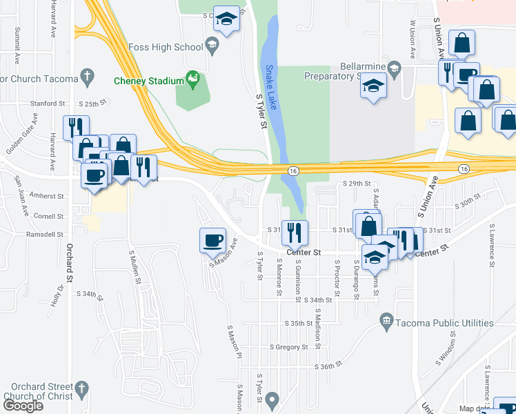 map of restaurants, bars, coffee shops, grocery stores, and more near 3001 South Tyler Street in Tacoma