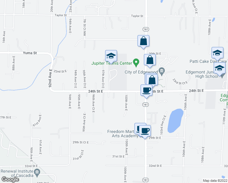 map of restaurants, bars, coffee shops, grocery stores, and more near 1613 98th Avenue Court East in Edgewood