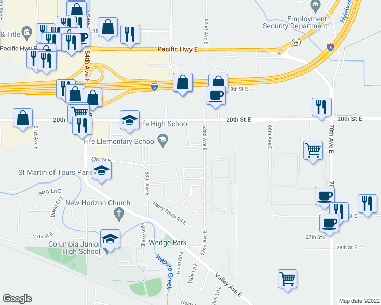 map of restaurants, bars, coffee shops, grocery stores, and more near 2126 62nd Avenue East in Fife