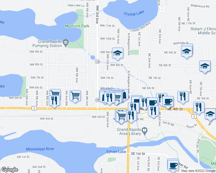 map of restaurants, bars, coffee shops, grocery stores, and more near Northwest 6th Street in Grand Rapids