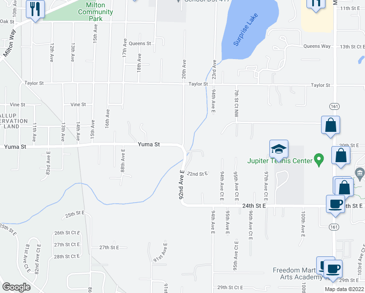 map of restaurants, bars, coffee shops, grocery stores, and more near 10304 20th Street East in Edgewood