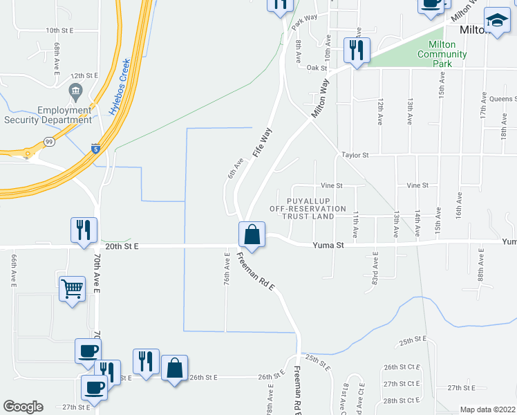 map of restaurants, bars, coffee shops, grocery stores, and more near 204 Milton Way in Milton