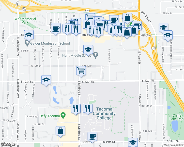 map of restaurants, bars, coffee shops, grocery stores, and more near 6409 South 12th Street in Tacoma