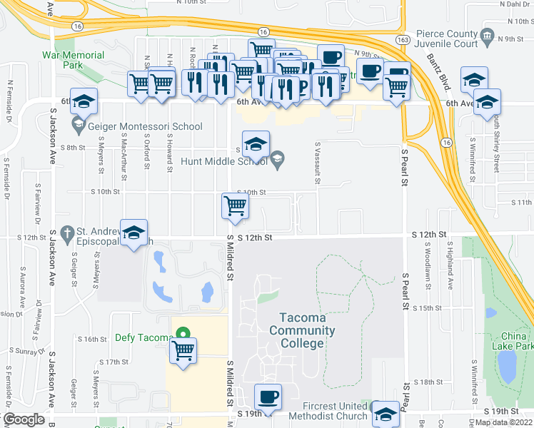 map of restaurants, bars, coffee shops, grocery stores, and more near 6400-6604 South 10th Street in Tacoma