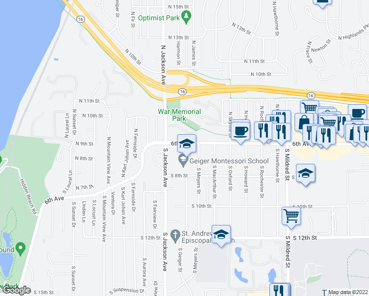 map of restaurants, bars, coffee shops, grocery stores, and more near 7320 6th Avenue in Tacoma