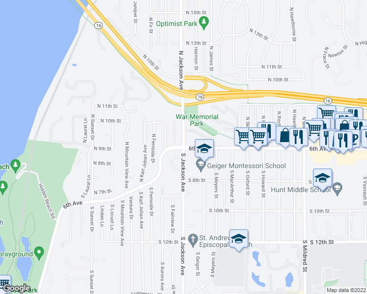 map of restaurants, bars, coffee shops, grocery stores, and more near 6th Ave & N Jackson Ave in Tacoma