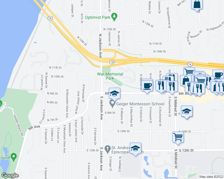 map of restaurants, bars, coffee shops, grocery stores, and more near 7319 6th Avenue in Tacoma