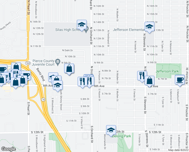 map of restaurants, bars, coffee shops, grocery stores, and more near 5015 North 7th Street in Tacoma