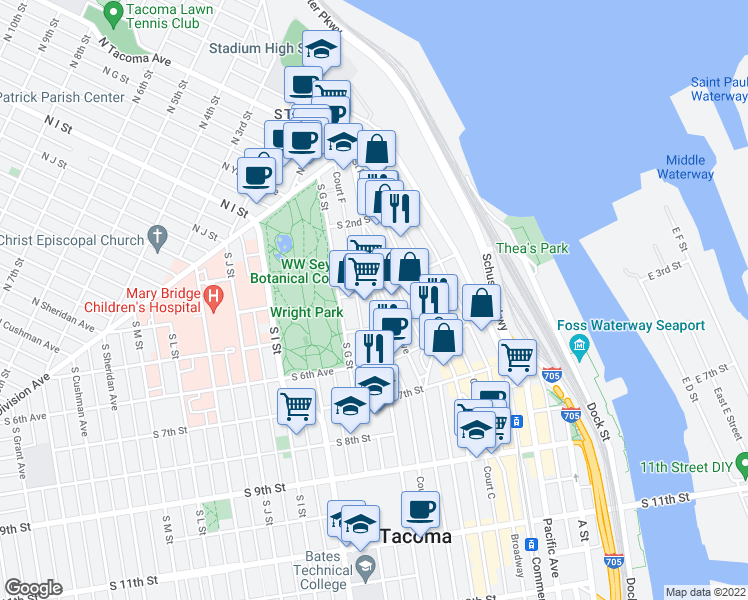 map of restaurants, bars, coffee shops, grocery stores, and more near 308 Tacoma Avenue South in Tacoma