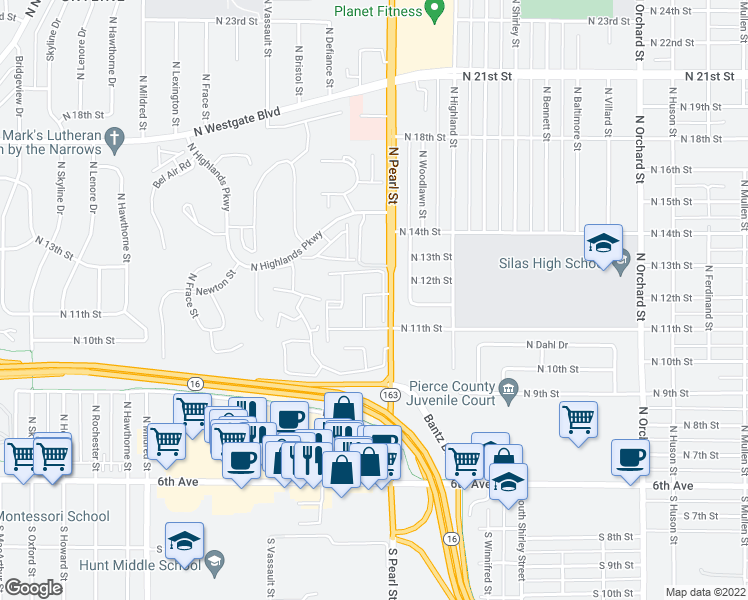 map of restaurants, bars, coffee shops, grocery stores, and more near 1202 North Pearl Street in Tacoma