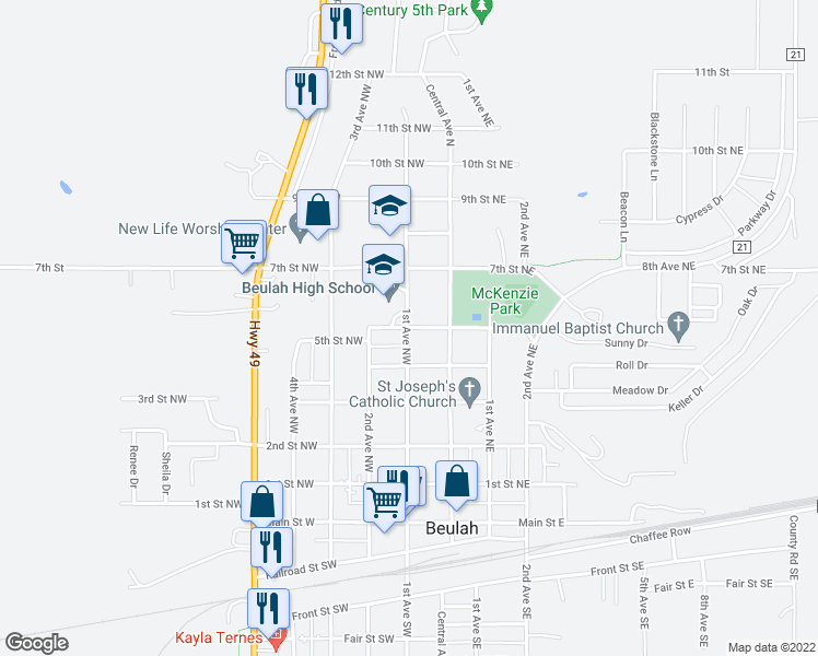 map of restaurants, bars, coffee shops, grocery stores, and more near 506 1st Avenue Northwest in Beulah