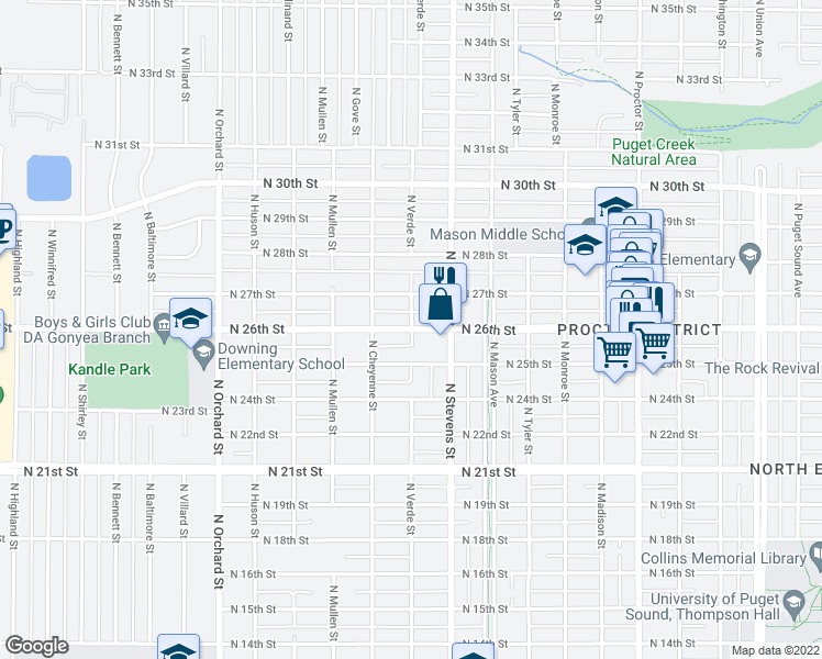 map of restaurants, bars, coffee shops, grocery stores, and more near North 26th Street in Tacoma