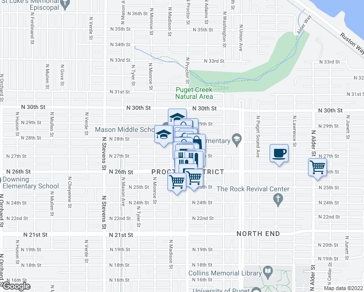 map of restaurants, bars, coffee shops, grocery stores, and more near 3910 North 28th Street in Tacoma