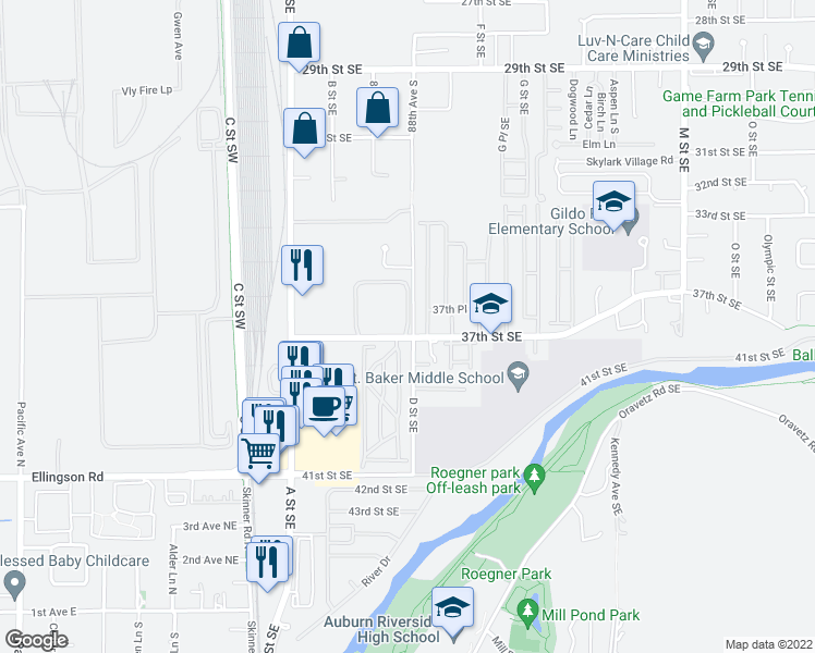 map of restaurants, bars, coffee shops, grocery stores, and more near 402 37th Street Southeast in Auburn
