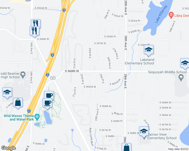 map of restaurants, bars, coffee shops, grocery stores, and more near 36015 24th Court South in Federal Way