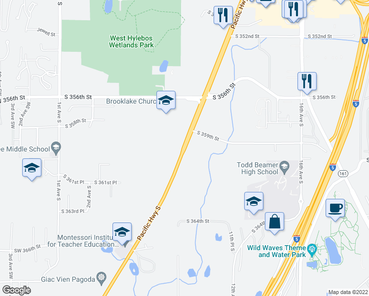 map of restaurants, bars, coffee shops, grocery stores, and more near 36000 Pacific Highway South in Federal Way