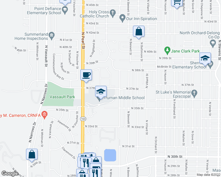 map of restaurants, bars, coffee shops, grocery stores, and more near 5602 North 37th Street in Tacoma