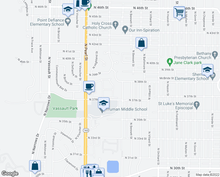 map of restaurants, bars, coffee shops, grocery stores, and more near 5601 North 37th Street in Tacoma