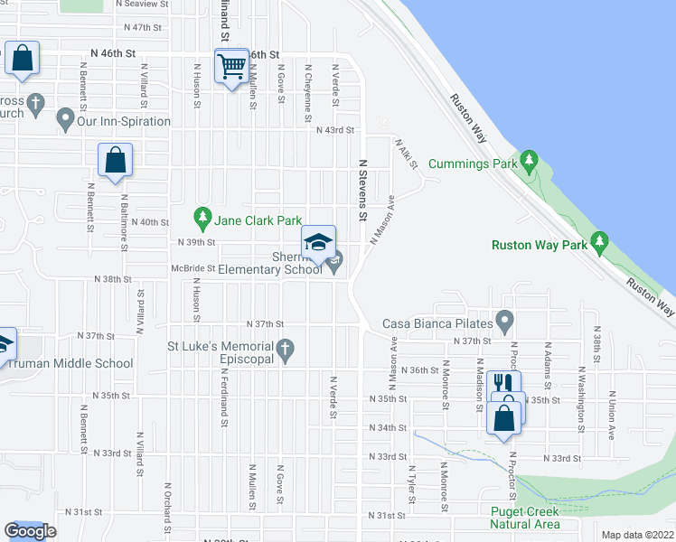 map of restaurants, bars, coffee shops, grocery stores, and more near 3726 North Verde Street in Tacoma