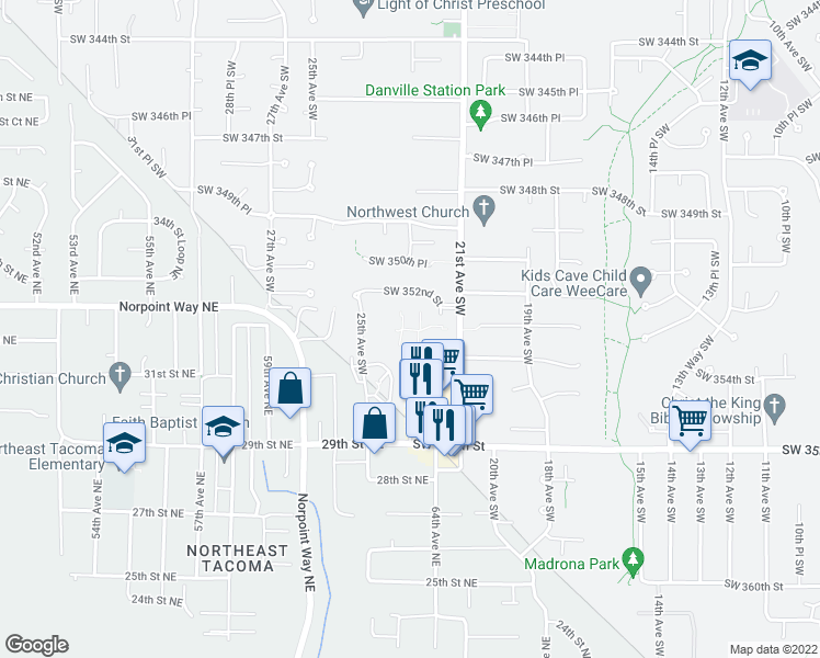 map of restaurants, bars, coffee shops, grocery stores, and more near 2111 Southwest 352nd Street in Federal Way
