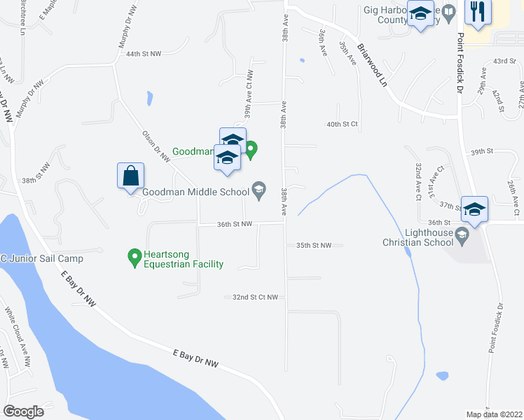 map of restaurants, bars, coffee shops, grocery stores, and more near 3806 36th Street Northwest in Gig Harbor