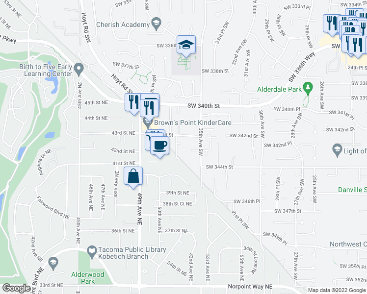 map of restaurants, bars, coffee shops, grocery stores, and more near 3611 Southwest 342nd Court in Federal Way