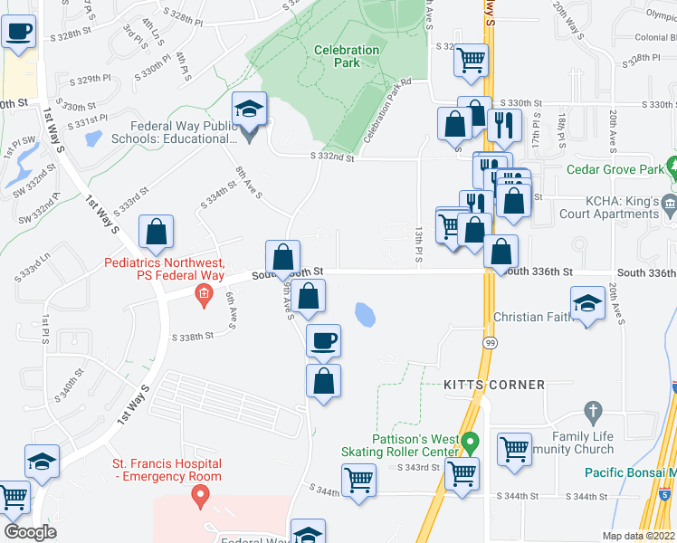 map of restaurants, bars, coffee shops, grocery stores, and more near 33546-33592 10th Place South in Federal Way